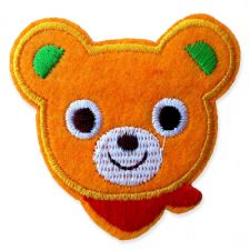 ORANGE BEAR HEAD MOTIF IRON ON EMBROIDERED PATCH APPLIQUE